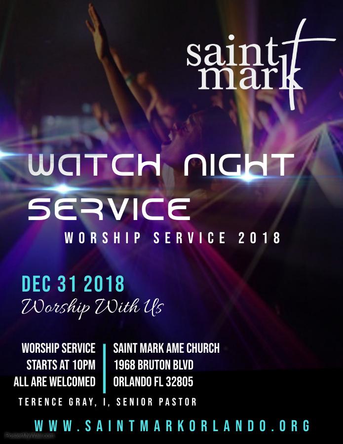 Watch Night Worship Service @ Saint Mark AME Church | Orlando | Florida | United States