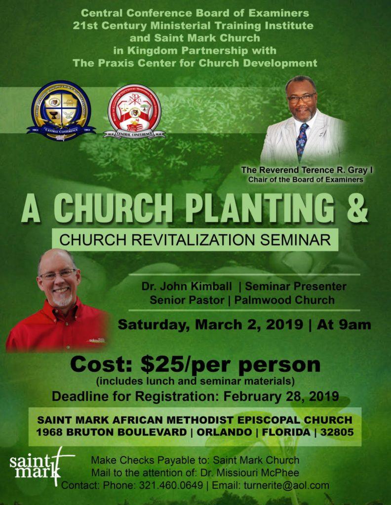 A Seminar in Church Planting and Church Revitalization  with Dr. John R. Kimball @ Saint Mark AME Church